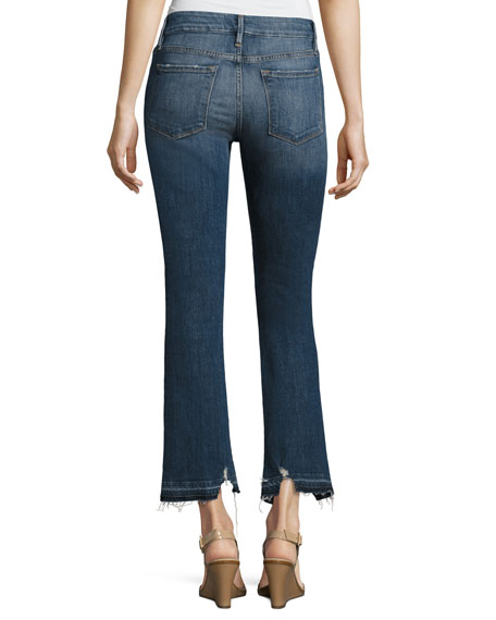 Le Crop Mini Boot Released Hem Jeans, Blue