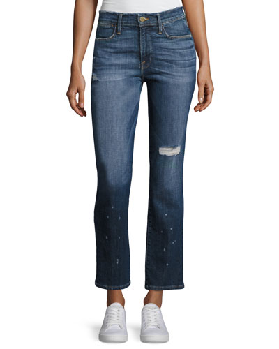 Le High Straight Leg Frayed Waist Jeans, Blue
