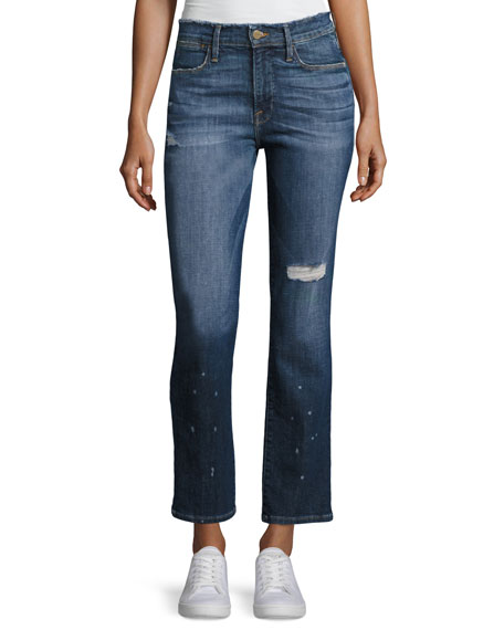 FRAME Le High Straight Leg Frayed Waist Jeans,