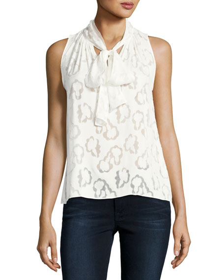 Sleeveless Satin Jacquard Top, White