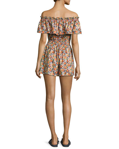 Moonlight Off-the-Shoulder Floral Romper, Orange-Purple