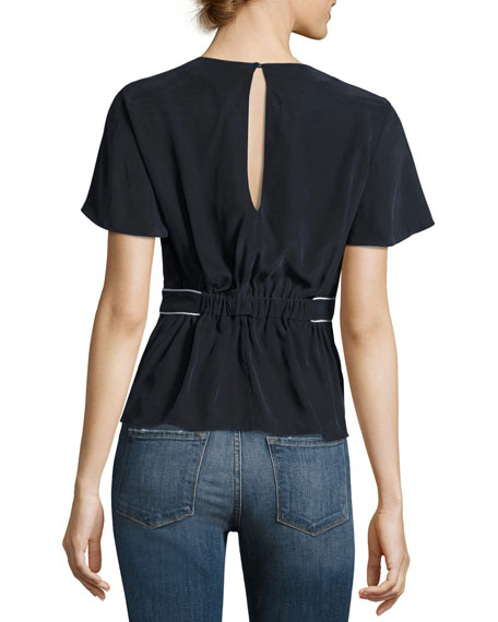 Piped Short-Sleeve Peplum Silk Top, Navy