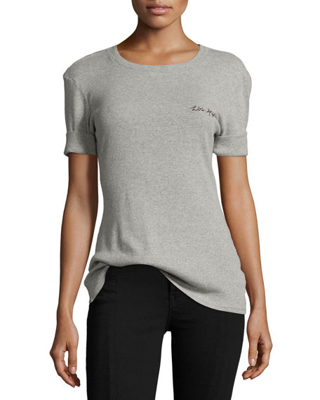 FRAME Extended Cuff Cotton Tee, Gray