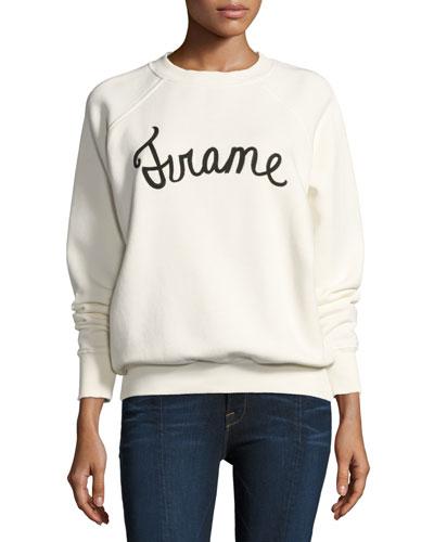 Old School Logo Graphic Pullover Sweatshirt, White