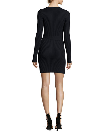 Rib-Knit Long-Sleeve Mini Dress, Navy