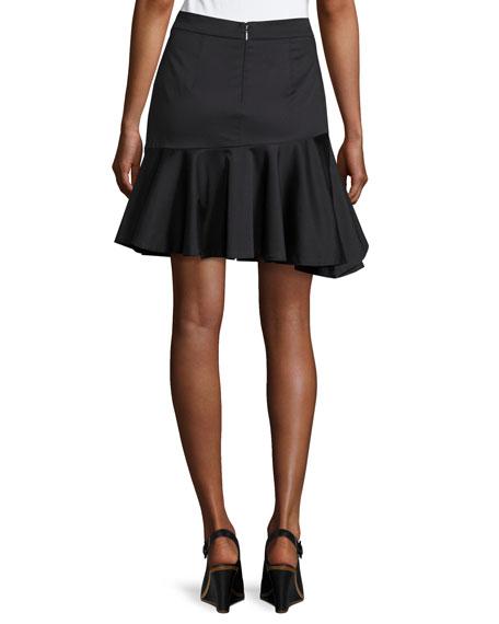 Cotton Ruffled Mini Skirt, Black
