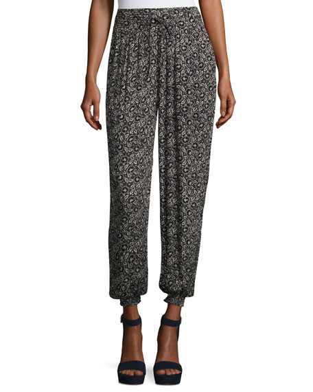 Briar Pull-On Silk Jogger Pants, Black Pattern