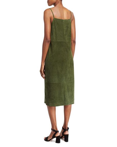 Suede Sleeveless Slip Midi Dress, Green