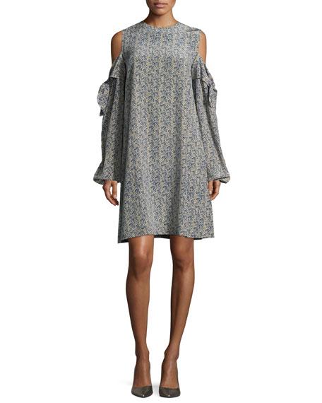 Cold-Shoulder Silk Mini Dress, Blue