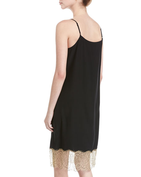 Slip Camisole Dress W/ Lace Detail, Black