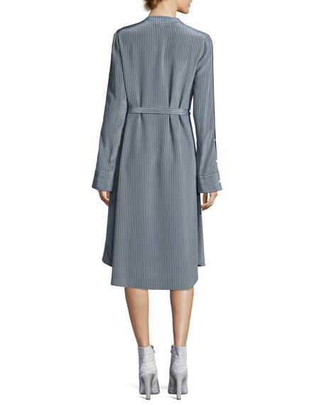 Striped Silk Long-Sleeve Shirtdress, Blue