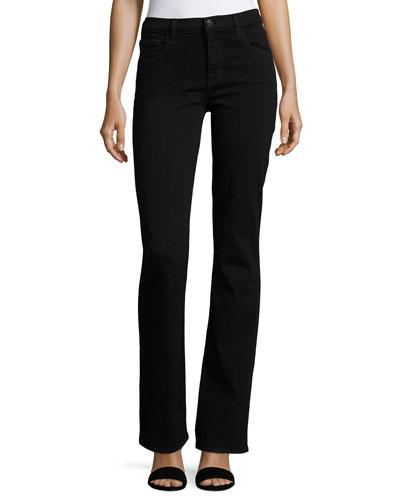 Litah High-Rise Boot-Cut Jeans, Black