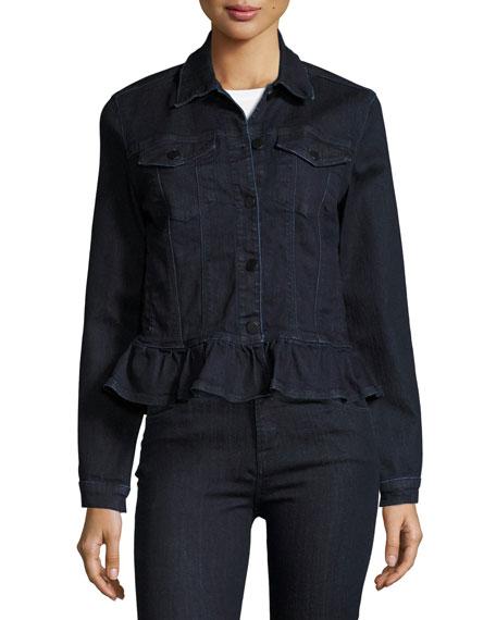 Slim Denim Jacket W/ Frill, Blue