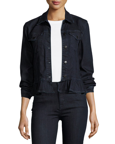 J Brand Slim Denim Jacket W/ Frill, Blue