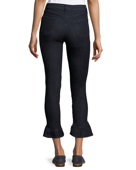 Maude High-Rise Crop Jeans W/ Frill, Blue