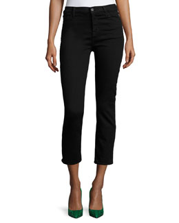 Maude High-Rise Crop Skinny Jeans, Black