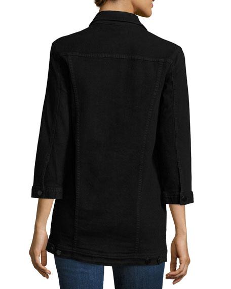 Maxi Denim Jacket, Black