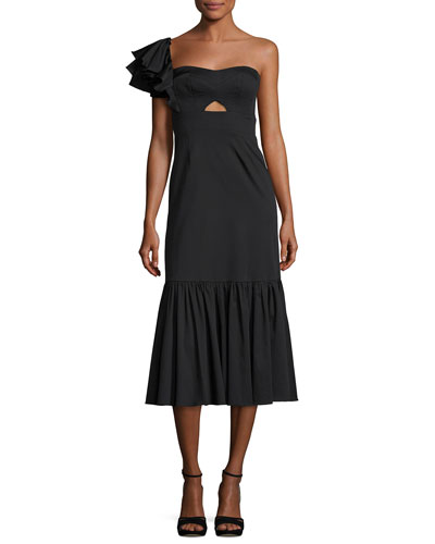One-Shoulder Cotton Ruffle Midi Dress