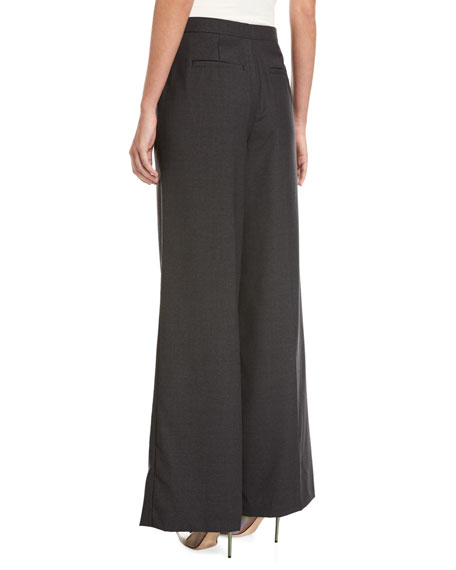 Slouchy Wide-Leg Boyfriend Wool Trousers, Charcoal