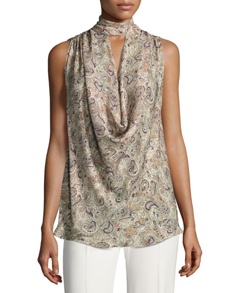 Out Of Touch Sleeveless Silk Blouse, Multi