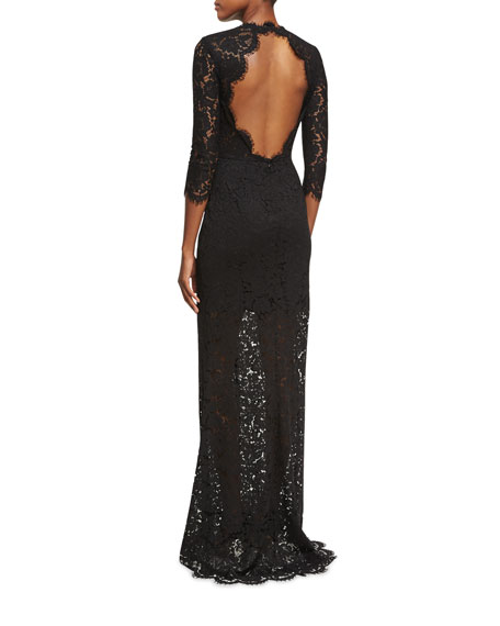 Carolyn Open-Back Lace Gown, Black