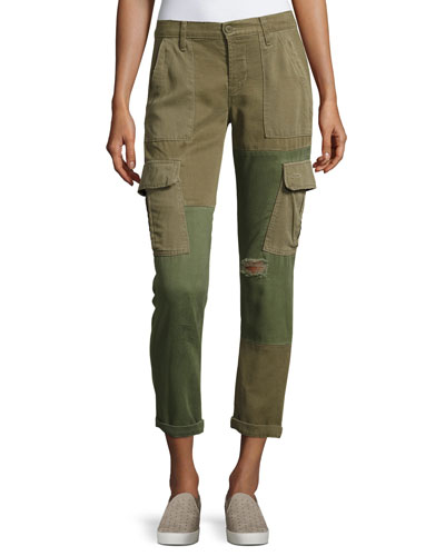Riley Two-Tone Utility Cargo Pants, Green Pattern