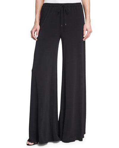 Breeze Drawstring Split-Leg Pants  Black