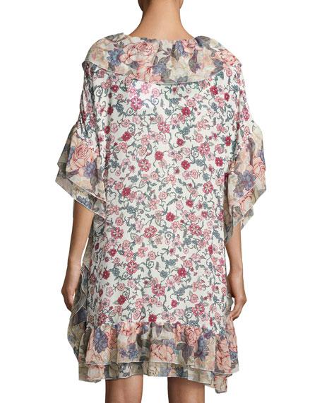Floral Wallpaper Print Shift Dress, White