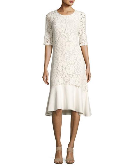 Lace Half-Sleeve Peplum-Hem Midi Dress