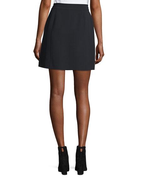 Zip-Front Crepe Miniskirt w/ Large Patch Pockets