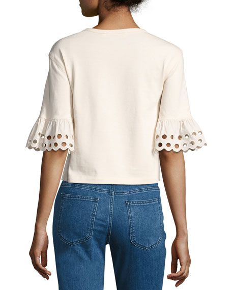 Crewneck Short-Sleeve Cotton Top, Off White
