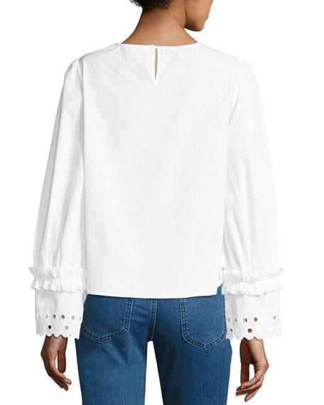 Crewneck Long-Sleeve Poplin Top, White