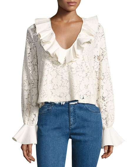 Ruffled Long-Sleeve Lace Top, White