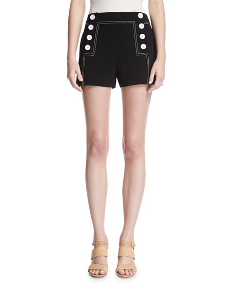Sailor Mid-Rise Button Shorts, Black
