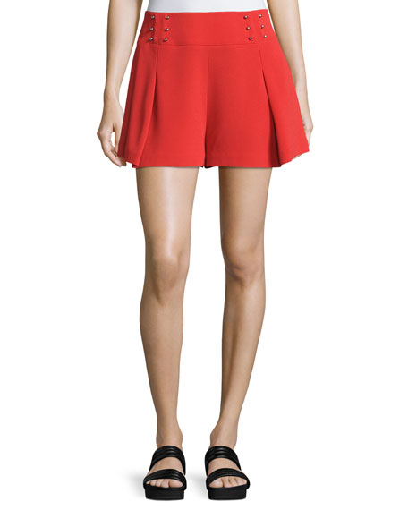 Sailor Mid-Rise Shorts W/ Beaded Trim, Red