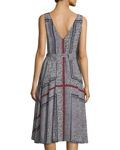 Sleeveless Printed Wrap Dress w/ Pleating