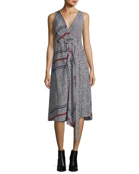 Derek Lam 10 Crosby Sleeveless Printed Wrap Dress