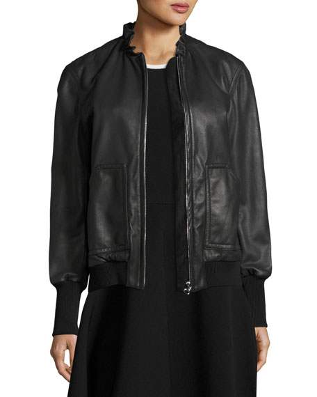Ruffled Collar Leather Bomber Jacket, Black