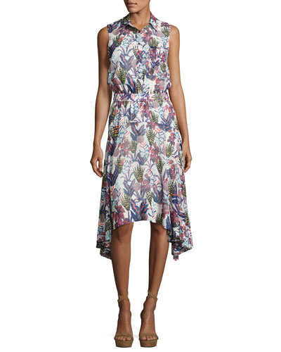 Sleeveless Floral-Print Chiffon Handkerchief-Hem Dress