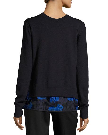 Layered Lace-Hem Merino Wool Sweater