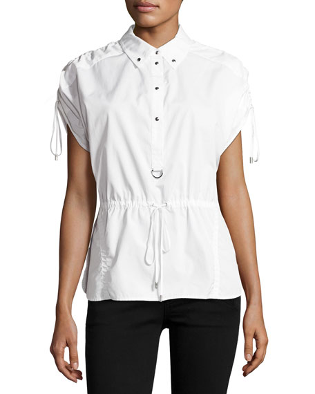 Short-Sleeve Half-Button Drawstring Cotton Top