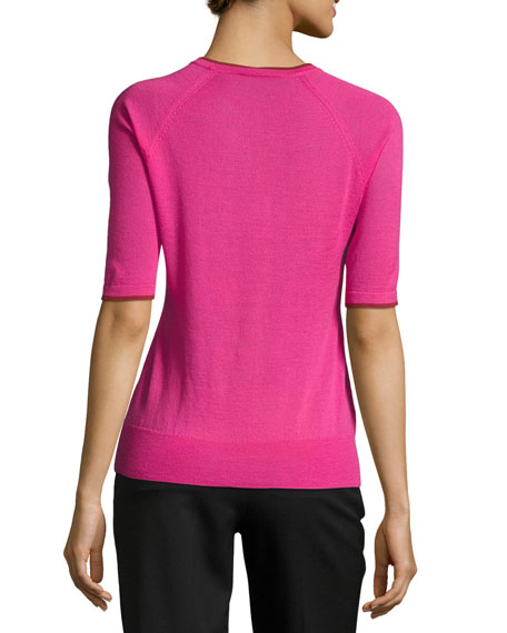 Contrast-Tipped Half-Sleeve Merino Wool Top