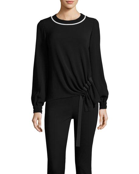 Sweater w/ Asymmetric Grosgrain Ribbon Trim