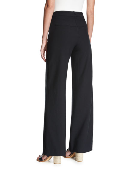 Shore Sailor Wide-Leg Pants, Black