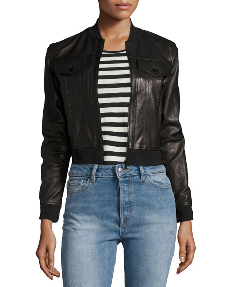 Harlow Zip-Front Leather Jacket, Black
