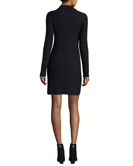 Long-Sleeve Ribbed Wool Polo Dress