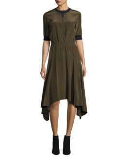 Half-Sleeve Zip-Front Handkerchief-Hem Dress