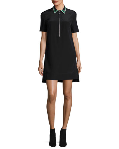 Short-Sleeve Half-Zip Silk Shirtdress