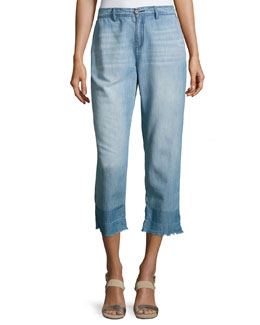 Marianne High-Rise Chambray Pants, Blue