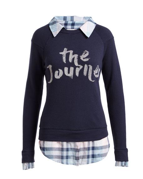 Haruna Combo Sweater w/ Plaid Shirting